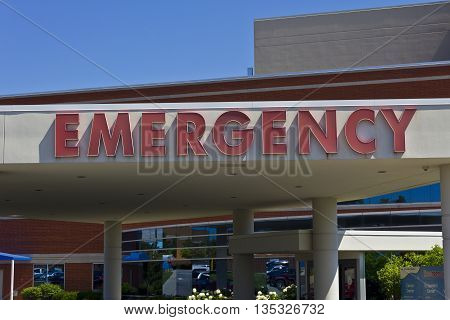 Red Emergency Entrance Sign for a Local Hospital VII