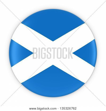 Scottish Flag Button - Flag Of Scotland Badge 3D Illustration