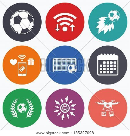 Wifi, mobile payments and drones icons. Football icons. Soccer ball sport sign. Goalkeeper gate symbol. Winner award laurel wreath. Goalscorer fireball. Calendar symbol.