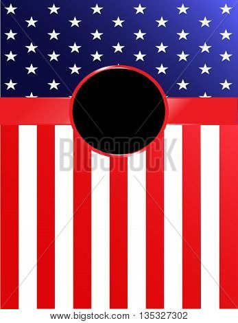 Brightly-colored American flag banner with red ribbon and rosette.
