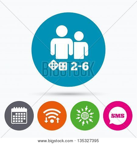 Wifi, Sms and calendar icons. Board games sign icon. From two to six players symbol. Dice sign. Go to web globe.