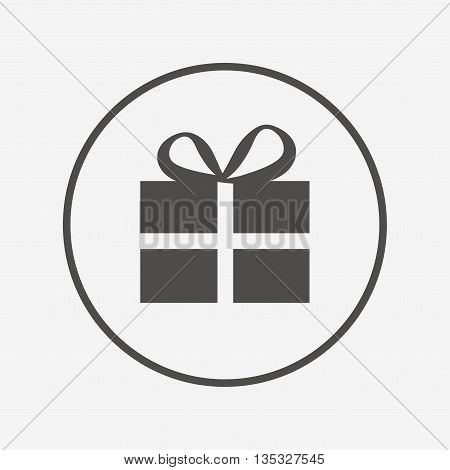 Gift box sign icon. Present symbol. Flat gift icon. Simple design gift symbol. Gift graphic element. Round button with flat gift icon. Vector