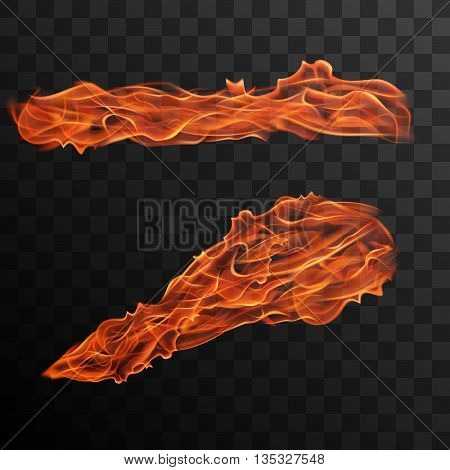 Realistic fire flames vector effect for design.Fire trail vector effect. Burning flame vector illustration. Fire flame with transparency.