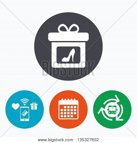 Gift box sign icon. Present with woman shoes symbol. Mobile payments, calendar and wifi icons. Bus shuttle.