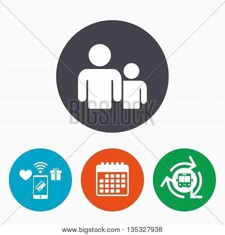 Group of people sign icon. Share symbol. Mobile payments, calendar and wifi icons. Bus shuttle.