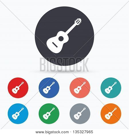 Acoustic guitar sign icon. Music symbol. Flat guitar icon. Simple design guitar symbol. Guitar graphic element. Circle buttons with guitar icon. Vector