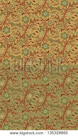 Seamless floral pattern with ornamental flowers in Khokhloma style. Floral design. Traditional russian Hohloma ornament with flowers. Two retro colors. Vector illustration
