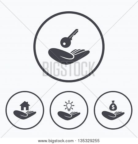 Helping hands icons. Financial money savings insurance symbol. Home house or real estate and lamp, key signs. Icons in circles.