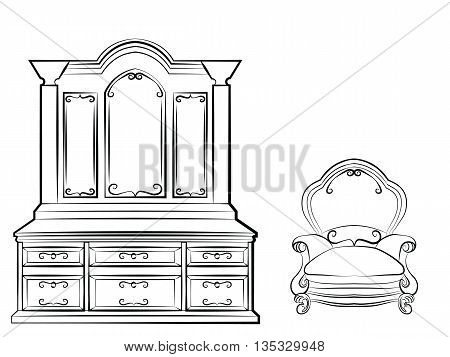 Dressing table Ornamented mirror furniture and armchair set. Vector