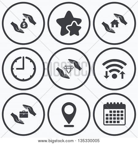 Clock, wifi and stars icons. Hands insurance icons. Money bag savings insurance symbols. Jewelry diamond symbol. House property insurance sign. Calendar symbol.