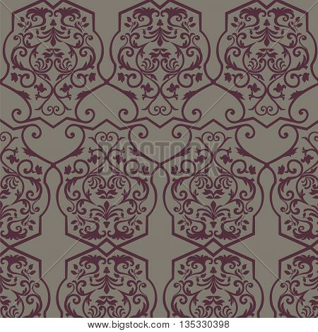 Vector Vintage Empire motif ornament pattern design. Traditional oriental style. Design element for wedding invitation cards backgrounds fabric texture etc. Maroon