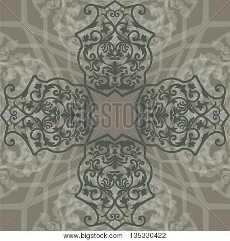Vector Vintage Empire motif ornament pattern design. Traditional oriental style. Design element for wedding invitation cards backgrounds fabric texture etc. in greens