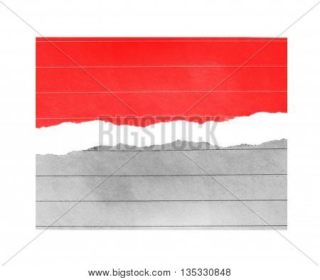 red and white paper, copy space on white background