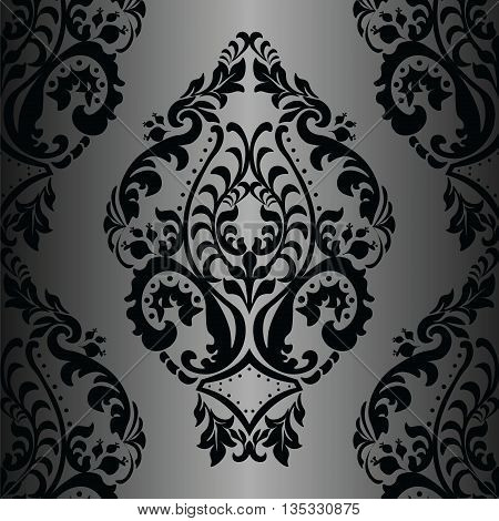 Vector Damask Pattern ornament Imperial style. Ornate floral element for fabric textile design wedding invitations greeting cards. Black and white color