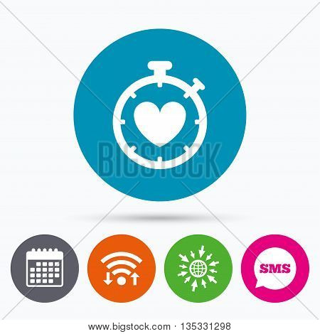 Wifi, Sms and calendar icons. Heart Timer sign icon. Stopwatch symbol. Heartbeat palpitation. Go to web globe.