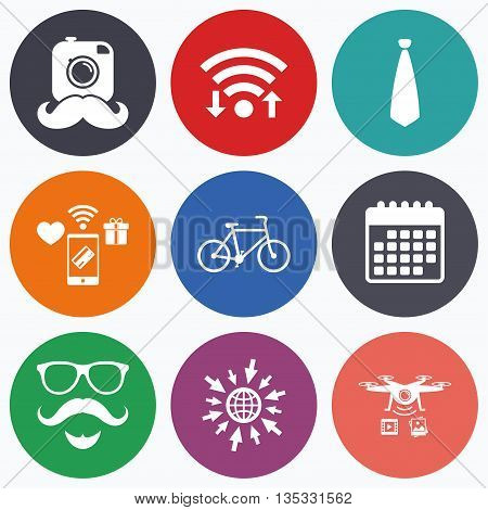 Wifi, mobile payments and drones icons. Hipster photo camera. Mustache with beard icon. Glasses and tie symbols. Bicycle family vehicle sign. Calendar symbol.