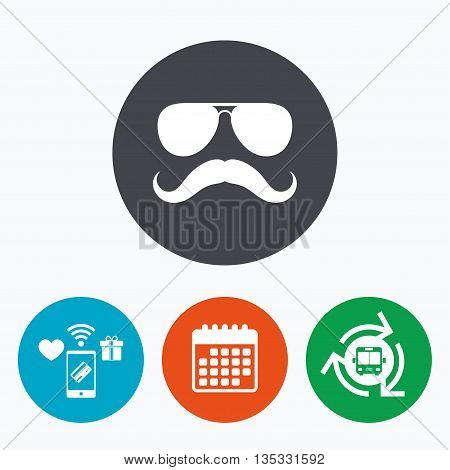 Mustache and Sunglasses sign icon. Hipster symbol. Mobile payments, calendar and wifi icons. Bus shuttle.
