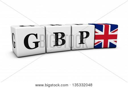 British pound currency exchange market and financial concept with GBP code sign and UK flag on cubes isolated on white 3D illustration.