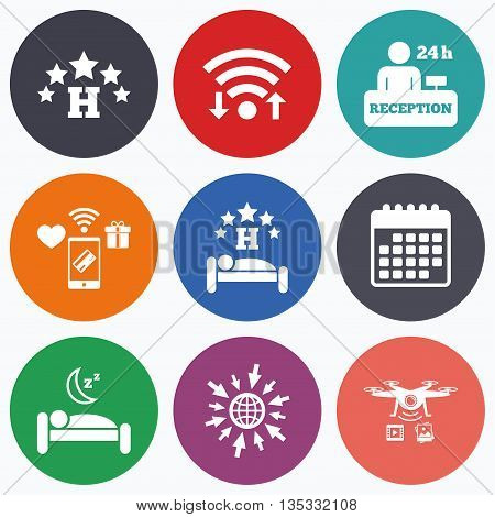 Wifi, mobile payments and drones icons. Five stars hotel icons. Travel rest place symbols. Human sleep in bed sign. Hotel 24 hours registration or reception. Calendar symbol.