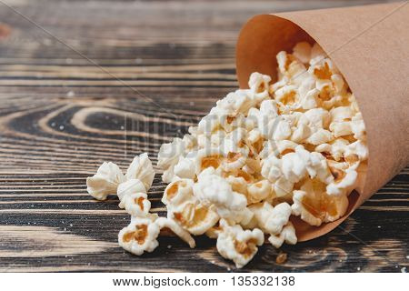 Homemade Corn Popcorn in a Bag, Unhealthy Food Concept