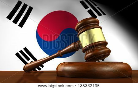 South Korea laws legal system and justice concept with a 3D rendering of a gavel and the South Korean flag on background.