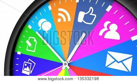 Social media time management and web strategy concept with a clock and social network icon printed in multiple colors 3D illustration.