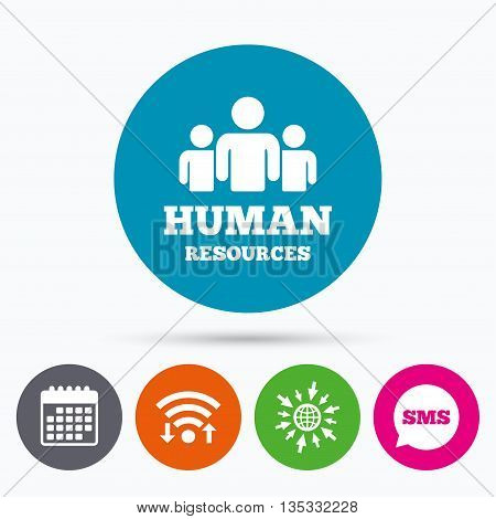 Wifi, Sms and calendar icons. Human resources sign icon. HR symbol. Workforce of business organization. Group of people. Go to web globe.