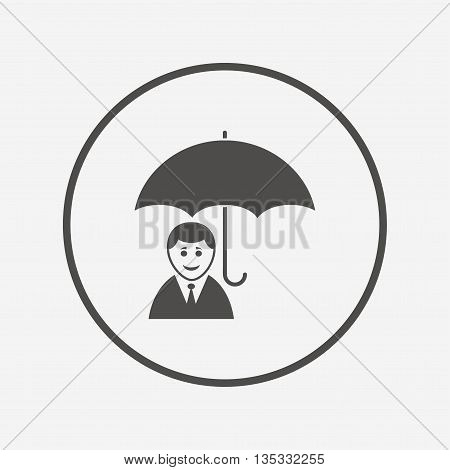 Human insurance sign icon. Person symbol. Flat human insurance icon. Simple design human insurance symbol. Human insurance graphic element. Round button with flat human insurance icon. Vector