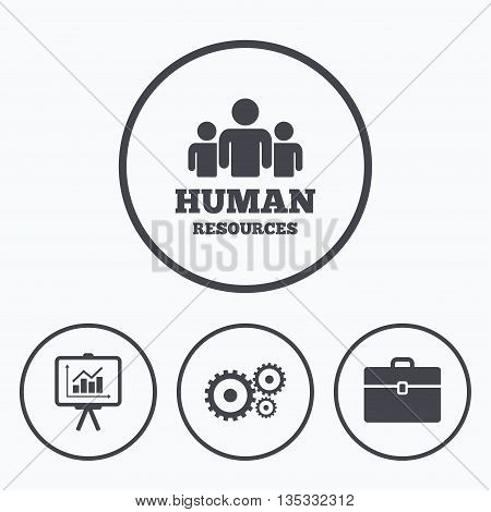 Human resources and Business icons. Presentation board with charts signs. Case and gear symbols. Icons in circles.