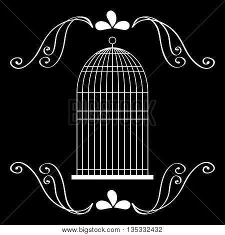 Decoration object concept represented by cute birdcages over ornament background illustration, flat, black and white design