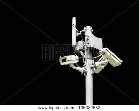 closed circuit camera cctv on black background isolate with clipping path