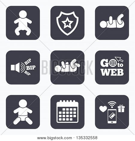 Mobile payments, wifi and calendar icons. Newborn icons. Baby infant or toddler symbols. Child silhouette. Go to web symbol.