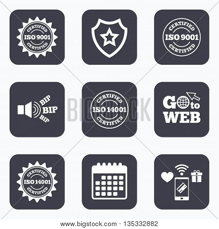 Mobile payments, wifi and calendar icons. ISO 9001 and 14001 certified icons. Certification star stamps symbols. Quality standard signs. Go to web symbol.
