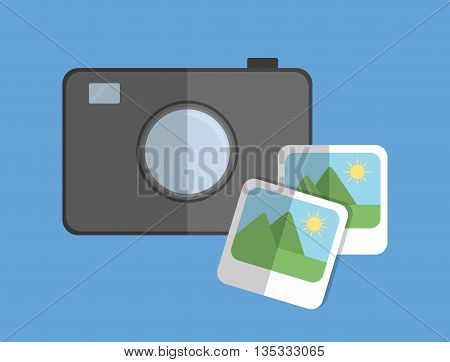 Camera represented by gadget and pictures of landscape. Colorfull and flat illustration