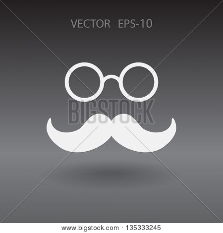 Flat Hipster retro style mustache and eyeglasses icon