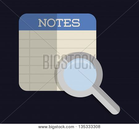 Document represented by piece of paper for notes with lupe icon. Colorfull and flat illustration