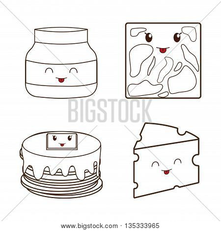 Breakfast represented by kawaii cartoon icon set design. Isolated and flat illustration