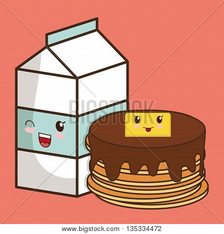 Breakfast represented by kawaii cartoon pancake and pancake design. Colorfull and flat illustration