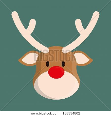 Merry Christmas represented by deer cartoon design. colorfulll and flat illustration