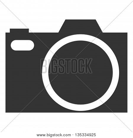 simple grey photographic camera vector illustration flat icon style