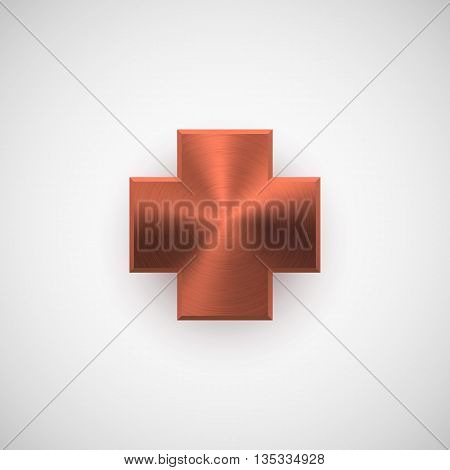 Bronze abstract cross badge, blank button template with metal texture, chrome, silver, steel, copper and realistic shadow for logo, design concepts, web, applications, apps, UI. Vector illustration.