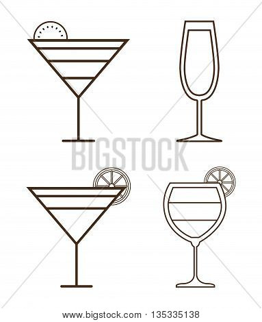 Alcohol represented by Icon set of silhouette cocktails design. Isolated and flat illustration