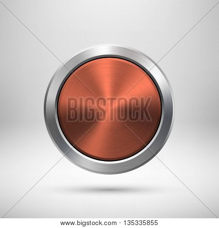 bronze medal template. Abstract circle geometric badge, technology perforated button with metal texture, chrome, steel for logo, design concepts, interfaces, apps. Vector illustration.