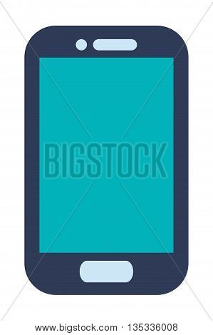 blue cellphone with front button vector illustration