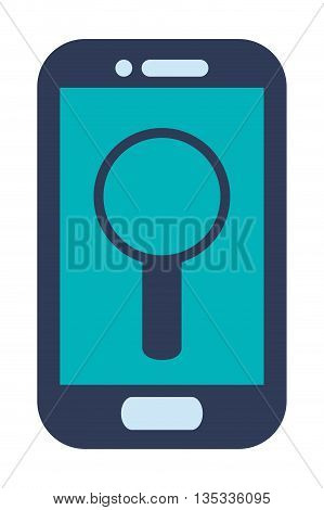 blue cellphone with front button with magnifying glass on screen vector illustration