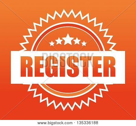 Register now design over orange background, vector illustration.