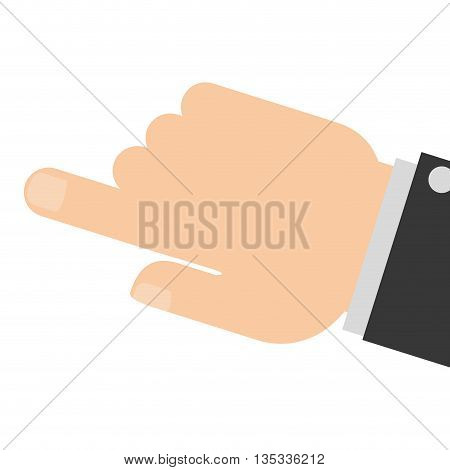 caucasian hand pointing with index finger vector illustration