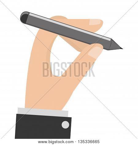 caucasian hand holding grey pencil vector illustration