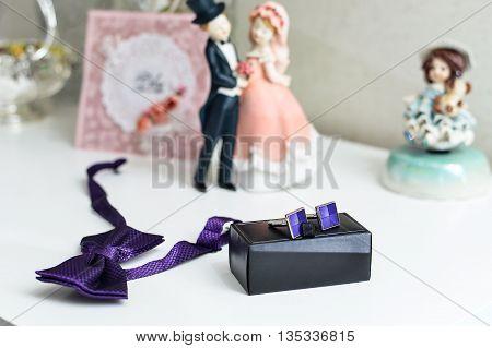 Groom's Morning. Tie-butterfly, Cufflinks, Watch, Handkerchief.