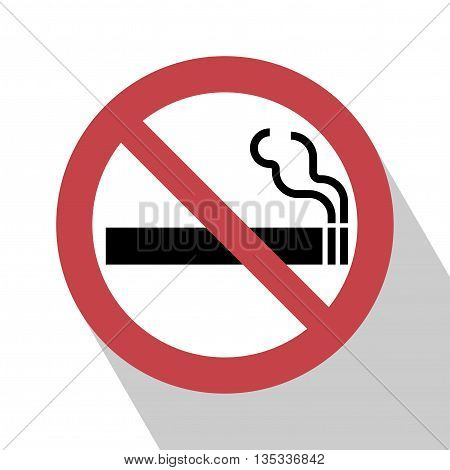 No Smoking Sign. No smoking Sign vector illustration. Not smoking sign vector. All in a single layer. No smoking Sign Elements for design. No smoking Sign with Long Shadow.